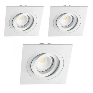Kit 3 focos LED empotrables cuadrado blanco
