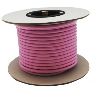 Rollo cable textil rosa